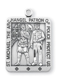 "1 1/16"" Square Sterling Silver St. Michael Medal.  Saint Michael the Archangel is the Patron Saint of Police, Law Enforcement. Dimensions: 1.1"" x 0.8"" (26mm x 20mm). Weight of medal: 5.6 Grams.  St Michael Policeman's Medal comes on a 24"" genuine rhodium plated endless curb chain. Made in USA. Medal presents in a deluxe velvet gift box"