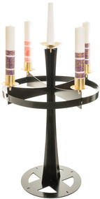 "Black powder coat finish with satin brass accents. Center adaptable to any size candle. 54"" H. to top of bobeche, 36"" dia. ring, 24"" base, 3"" sockets."