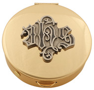 """Brass Pyx with Pewter Medallion comes in 4 sizes and host capacities.  Please make selection in options box. Host capacity is based on 1 1/8"""" host."""
