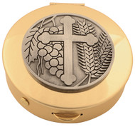 "Brass Pyx with Pewter Cross Medallion comes in 4 sizes and host capacities.  Please make selection in options box. Host capacity is based on 1 1/8"" host."