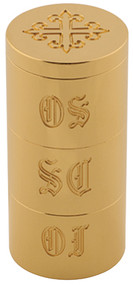 "3 5/8""H x 1 11/16""D.  Solid Brass, 24k bright gold plated. Engraved OI, OS, SC.  Engraved cross on cover."
