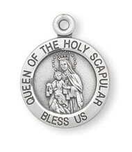 "3/4"" Sterling Silver Round Shaped Holy Scapular (2 Sided) medal showing the Our Lady of Mount Carmel on the round shaped front and the Sacred Heart of Jesus on the reverse. Medal says ""Queen of the Holy Scapular, Bless Us"". A 18"" Rhodium Plated Curb Chain is Included with a Deluxe Velour Gift Box."