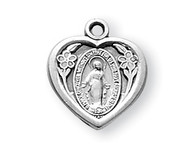 "1/2"" Sterling Silver Solid Heart shaped Miraculous Medal with an 13"" genuine rhodium plated chain in a deluxe gift box.  Perfectly sized for a child.  Available in 14K gold over sterling silver."