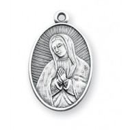 "1"" Oval Sterling Silver Our Lady of Guadalupe Medal with 18"" chain"
