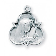 """7/8"""" Sterling Silver Our Lady of Sorrows Our Lady of Sorrows, Patroness of Slovakia Medal comes on a 16"""" genuine rhodium plated curb chain.  Deluxe velvet gift box included.  Made in USA."""