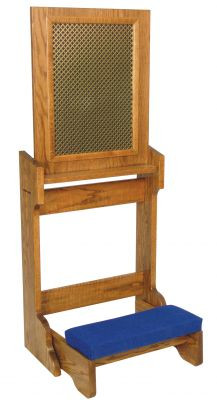 """Prie dieu comes with a stationary kneeler and aluminum mesh screen. The dimensions: 22""""W x 21""""D; With open confessional panel: 52""""H; with closed confessional panel: 32"""" height.  Prie Dieu is shown with metal screen instead of aluminum mesh screen. Includes two layers of perforated cloverleaf pattern metal with a black fabric center layer"""