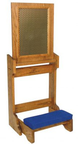 "Prie dieu comes with a stationary kneeler and aluminum mesh screen. The dimensions: 22""W x 21""D; With open confessional panel: 52""H; with closed confessional panel: 32"" height.  Prie Dieu is shown with metal screen instead of aluminum mesh screen. Includes two layers of perforated cloverleaf pattern metal with a black fabric center layer"