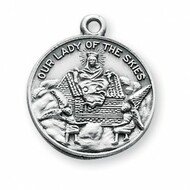 "15/16"" Sterling Silver Our Lady of Loreto Medal. A 18"" rhodium plated curb chain is included. Deluxe Velour Gift Box. Made in the USA."