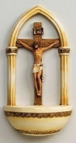"""7"""" Crucifix Holy Water Font florentine Style. Resin/Stone Mix"""