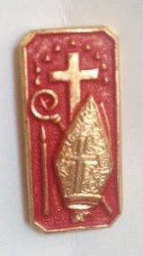 "Gold and Red Confirmation Lapel Pin. 3/4""H x 1/2""W."