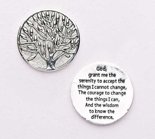 "1.25"" diameter Serenity Prayer Pocket Token.  Made of lead free zinc alloy."