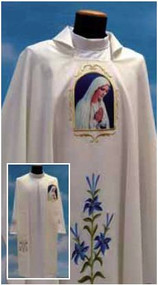 Marian Chasuble  made of Primavera fabric (100% polyester), with embroidered Marian symbol on the front and back. Inside stole included. This garment is imported from Italy. Please allow 4 to 8 weeks for delivery. Stole Available at an additional cost.