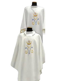 Marian Chasuble or Dalmatic made of Primavera fabric (100% polyester), with embroidered Marian symbol on the front and back. Inside stole included.  This garment is imported from Italy. Please allow 4 to 8 weeks for delivery.