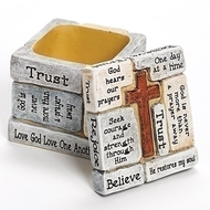 "2.25"" Inspirational Crosswords Trinket Box.  Resin/Stone Mix. 2.25"" Inspirational Crosswords Trinket Box.  Beautiful wording on every side of this inspiring trinket box.  The Crossword Collection includes this box, and several other pieces sold separately. Resin/Stone Mix."
