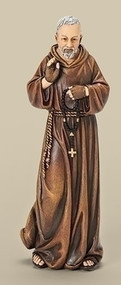 "Saint Padre Pio Statue. Patron Saint of the Sick. Dimensions: 6""H x 2.25""W x 1.75""D."