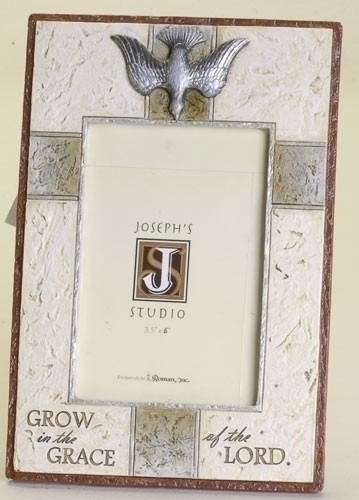 """9.5"""" Confirmation Picture Frame. Dimensions: 9.5""""H x 6.38""""W x 0.5""""D. Resin/Stone Mix."""