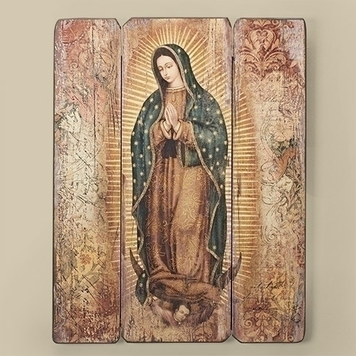 """17"""" Decorative Wall Panel of Our Lady of Guadalupe -medium density fiberboard decorative panel. 17""""H X 13""""W X 1.38D"""