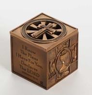 "Multi-sacramental Keepsake Box. 3.6sq"". Jeremiah 29:11 For I know the Plans I have for you."