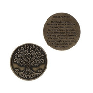 """1.25"""" Round Tree of Life Pocket Token.  Tree of Life Pocket Token shows the Tree of Life on one side, and on the flip side is an Irish Prayer. """"May God give a rainbow for every storm....."""""""