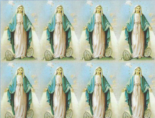 "Miraculous Medal Prayer Cards. Bonella artwork is known throughout the world for its beautiful renditions of the Christ, Blessed Mother and the Saints. 8 1/2"" x 11"" sheets with tab that separates into 8- 2 1/2"" x 4 1/4"" c cards that can be personalized and laminated at an additional cost.  ( Price per sheet of 8)"