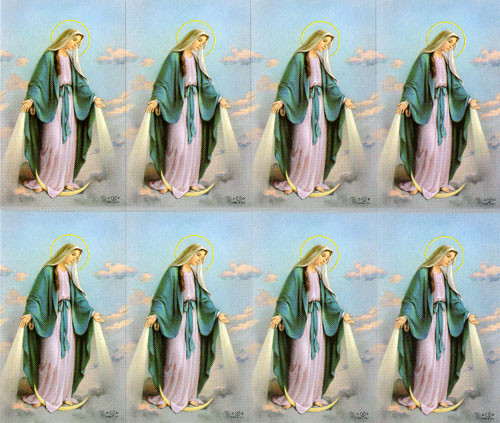 """Our Lady of Grace Prayer Cards. Bonella artwork is known throughout the world for its beautiful renditions of the Christ, Blessed Mother and the Saints. 8 1/2"""" x 11"""" sheets with tab that separates into 8- 2 1/2"""" x 4 1/4"""" c cards that can be personalized and laminated at an additional cost.  ( Price per sheet of 8)"""