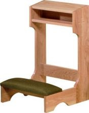 "Prie dieu with padded kneeler. Dimensions are 36""W x 32""H x 21""D"