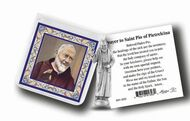 """1 1/2"""" pocket statue with a 3"""" x 3"""" gold stamped prayer card in a soft, clear vinyl pocket."""