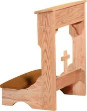 """Prie Dieu with shelf and cross. Available with wooden or padded armrests. Two Sizes:  22""""W x 21""""D x 32""""H or 36""""W x  21""""D x 32""""H. Please choose options for fabric, stain and armrest. Allow 6-8 weeks for delivery"""