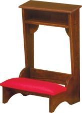 """Prie Dieu Kneeler is available in two sizes. Choose 22""""W x  21""""D x 32H or 36""""W x 21""""D x 32""""H.  The kneeler is available with wooden or padded armrest. Please choose size, fabric, and color in the options section. Item is made to order. Please allow 4-8 weeks for delivery."""