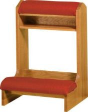 "Prie dieu with padded armrest and kneeler, heavy duty construction. Dimensions: 34"" height, 25"" width, 21"" depth. Larger size available ~ Item #3450"