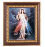 "An 8"" x 10"" Image of The Divine Mercy in a beautiful 11"" x 13""  cherry finished frame with gold leaf under glass. Easel back or hook to hang"