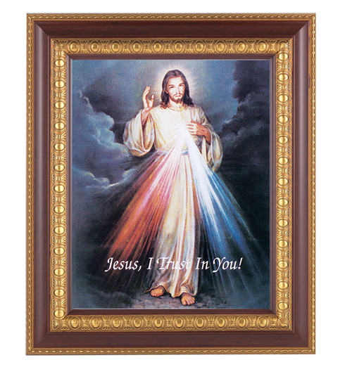 """An 8"""" x 10"""" Image of The Divine Mercy in a beautiful 11"""" x 13""""  cherry finished frame with gold leaf under glass. Easel back or hook to hang"""