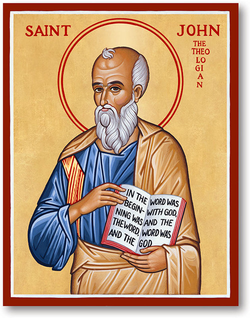 """St. John, the son of Zebedee, and the brother of St. James the Great, was called to be an Apostle by our Lord in the first year of His public ministry. He became the """"beloved disciple"""" and the only one of the Twelve who did not forsake the Savior in the hour of His Passion. He stood faithfully at the cross when the Savior made him the guardian of His Mother. His later life was passed chiefly in Jerusalem and at Ephesus. He founded many churches in Asia Minor. He wrote the fourth Gospel, and three Epistles, and the Book of Revelation is also attributed to him. Brought to Rome, tradition relates that he was by order of Emperor Dometian cast into a cauldron of boiling oil but came forth unhurt and was banished to the island of Pathmos for a year. He lived to an extreme old age, surviving all his fellow apostles, and died at Ephesus about the year 100."""