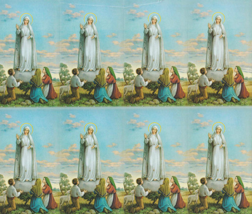 """Our Lady of Fatima personalized Prayer Cards from the Bonella Line. Bonella artwork is known throughout the world for its beautiful renditions of the Christ, Blessed Mother and the Saints. 8 1/2"""" x 11"""" sheets with tab that separates into 8- 2 1/2"""" x 4 1/4"""" cards that can be personalized and laminated at an additional cost.  ( Price per sheet of 8)"""