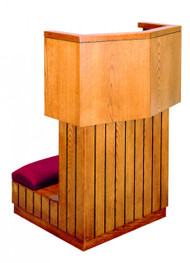 "Prie dieu with shelf. Dimensions: 35"" height, 24"" width, 24"" depth or 35"" height, 36"" width, 24"" depth"