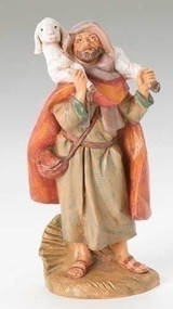 "Fontanini 5"" scale Figurine depicts Matthew holding a sheep and is skillfully hand-painted and sculpted by master Italian artisans. Unbreakable. Comes boxed and include a story card Actual dimensions: 4.75""H x 2.25""W x 1.75""D Material(s): child-friendly polymer"