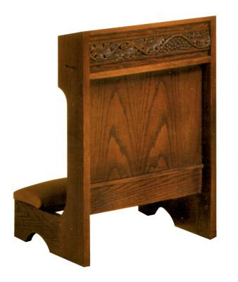 "Prie dieu with shelf. Dimensions: 32"" height, 22"" width, 19"" depth"