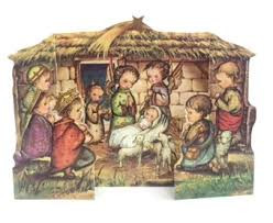 This nativity scene is made of heavy duty card stock and stands up for easy display.  The nativity scene is 3-D and designed with an illustration of the nativity scene.  This nativity scene is perfect for small spaces, the heavy duty cardstock stands on its own and is 3-D. With a detailed illustration on the front and the bible verse Luke 2:10-14 on the back. If you are looking for an easy way to display the nativity scene among your other Christmas decorations, this is the perfect choice for you.  This is the perfect nativity scene kids, small areas, or to hand out at bible study and other classes. Shop now!