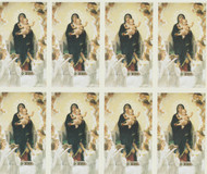 """Our Lady of Angels"" Personalized Holy Cards. Customize your message. All sheets are micro perforated. 8 cards/sheet. Cardstock-2 1/2 x 4 1/4"" H Sheet: 8 1/2 x 11"" H. Minimum order 24 cards/3 Sheets. Cards can also be laminated for an additional cost."