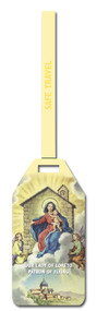 """Our Lady of Loreto - Patron of Flying. A  Flexible Poly Luggage Tag. Dimensions: 2-1/8"""" x 4-1/8"""" . Reverse side for has space for your personal information."""