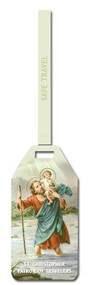 "St. Christopher Flexible Poly Luggage Tag. Dimensions: 2-1/8"" x 4-1/8"" . Reverse side for has space for your personal information."