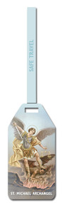 "St. Michael Flexible Poly Luggage Tag. Dimensions: 2-1/8"" x 4-1/8"" . Reverse side for has space for your personal information."
