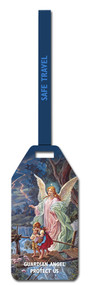 "Guardian Angel Flexible Poly Luggage Tag. Dimensions: 2-1/8"" x 4-1/8"" . Reverse side for has space for your personal information."