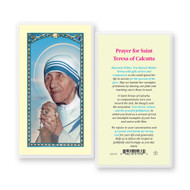 Prayer to St. Teresa of Calcutta. Clear, laminated Italian holy card. Features World Famous Fratelli-Bonella Artwork. 2.5'' x 4.5''.  Canonization Date: September 4, 2016. Feast Day: September 5