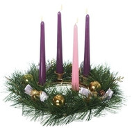 "This 12"" Advent wreath is a beautiful addition to your Christmas decorations. The twig base adds a natural look and is covered with realistic pine. The wreath is decorated with purple and gold ribbons, gold pine cones, and gold ornamental balls. The gold candle holders stand above the rest of the wreath, adding to the overall look and giving the wreath a more traditional appearance. The candles are not included, but you can find the perfect ones on our website item #101610"