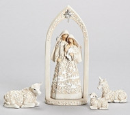 Image of the 4-Piece Papercut Holy Family Nativity Set With Stable Animals sold by St. Jude Shop.