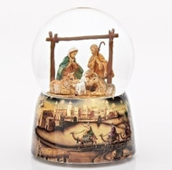"Musical 5.5"" Holy Family and animals 100MM Glitter Dome with decal base. Plays ""Away in a Manger""."