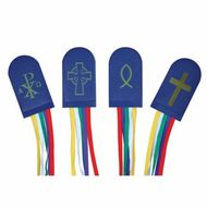 "14"" five ribbon bookmark with cross and flame tab. Ribbon colors are purple, yellow, red, white and green stitched in a navy blue vinyl tab."