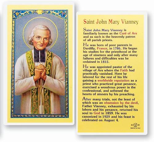 St. John Mary of Vianney Laminated Holy Card with short bio