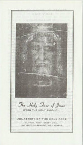 Tri-fold Pamphlet explaining the history and prayers of the Shroud and the silver oxidized medal that goes with it. Produced by the Sylvestrine-Benedictine Fathers in New Jersey. The medal depicts the Face of Jesus on one side and the Sorrowful Mother on the reverse side.